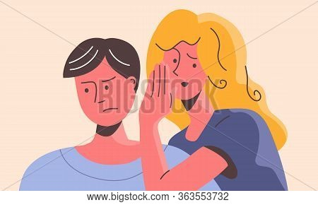 Woman Whispering In Ear Of Confused Man. Wicked Female Manipulating A Sad Male Stealthily On The Sly