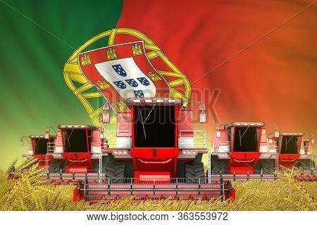 Some Red Farming Combine Harvesters On Rural Field With Portugal Flag Background - Front View, Stop