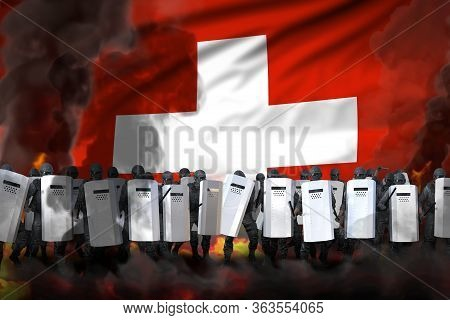 Switzerland Police Swat In Heavy Smoke And Fire Protecting Government Against Revolt - Protest Fight