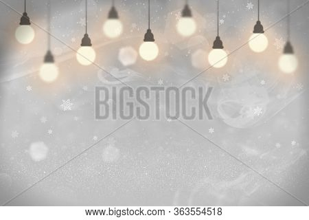 Pink Wonderful Glossy Abstract Background Glitter Lights With Light Bulbs And Falling Snow Flakes Fl
