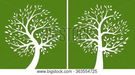 Tree Green Logo Set. Eco Organic Emblem Collection. Family Life Concept. Plant Oak Logotype Icon . V