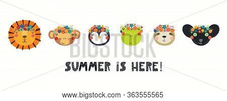 Banner With Cute Funny Animals In Flower Crowns, Quote Summer Is Here. Hand Drawn Vector Illustratio