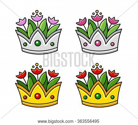 Set Of Silver And Golden Crowns With Tulips. Vase With Flowers.