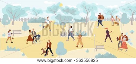 People Walking In Park Enjoy Outdoor Active Rest. Young, Adult, Teenager Characters. Family Couple,