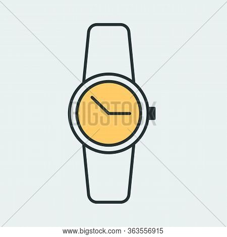 Vector Icon Of A Modern And Beautiful Wrist Smart Watch With Strap. It Represents A Concept Of Time