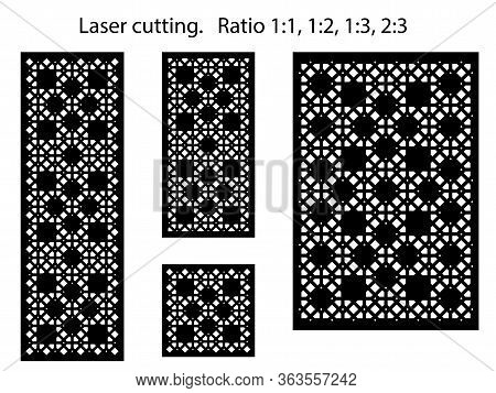Set Of Decorative Vector Panels For Laser Cutting, Interior Decor. Template For Interior Partition I