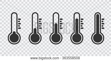 Weather Sign. Temperature Icon Set. Temperature Scale Symbol. Thermometer Set On Transparent Backgro