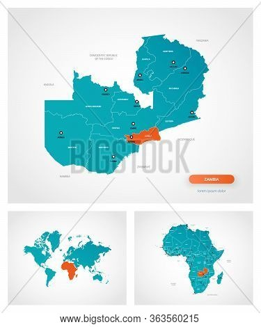 Editable Template Of Map Of Zambia With Marks. Zambia  On World Map And On Africa Map.