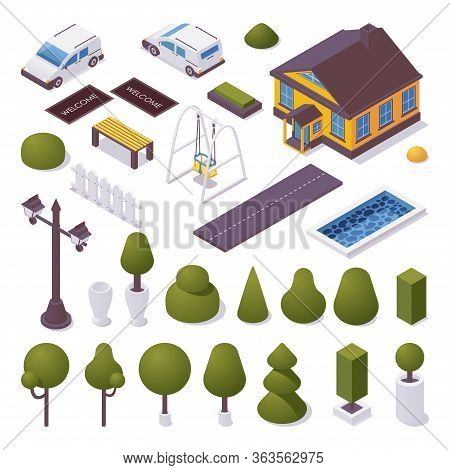 Exterior Isometric Set With Townhouse, Trees, Pool, Car And Decoration. Vector 3d Collection.