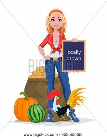 Happy Smiling Farm Girl Standing Near Harvest. Beautiful Farmer Woman Cartoon Character. Vector Illu