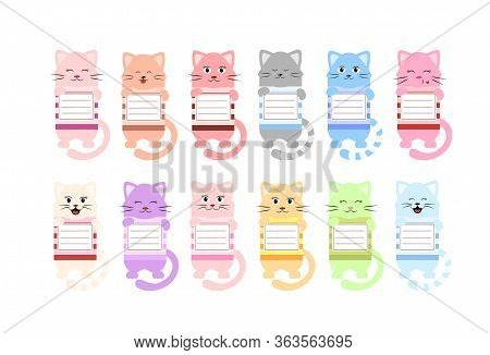 Set Of Cartoon-style Bookmark Template For Children's Books With A Cat.