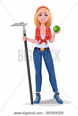 Happy Smiling Farm Girl Hoe And Apple. Beautiful Farmer Woman Cartoon Character. Vector Illustration