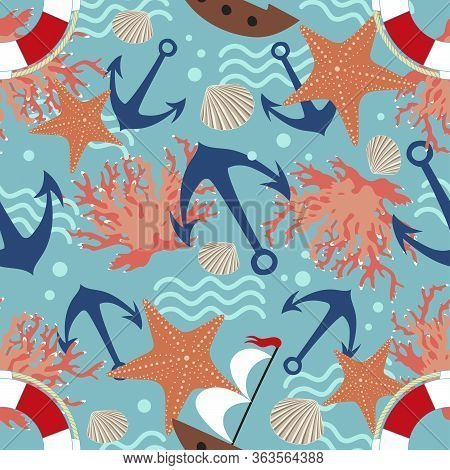 Seamless Marine Texture With The Image Of Anchors, Boats, Corals, Life Buoy.