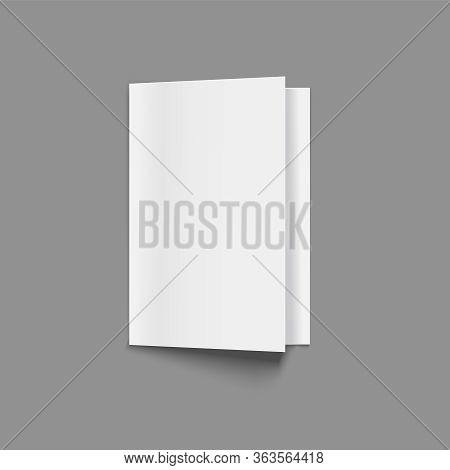 Realistic Detailed 3d Blank Flyer Or Booklet Mock Up. Vector Illustration Of Handout
