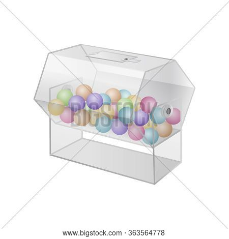 Realistic 3d Detailed Transparent Drum Raffle Lottery With Balls Isolated On A White Background Symb