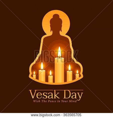 Vesak Day Banner With Candle Light For Remember The Lord Buddha In Buddha Sign Frame On Dark Brown B