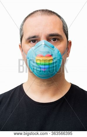 Man With A Lgbt Medical Mask On White Background