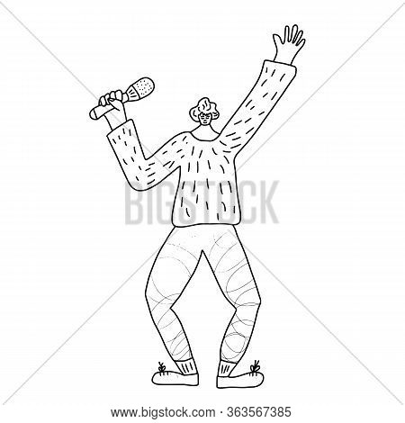 Happy Guy Singing Isolated On White Background. Singer Standing With Mike. Cute Male Character Havin