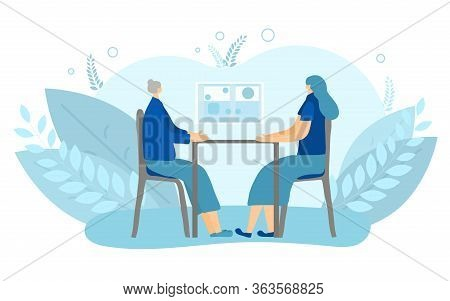Frank Talk Concept. Psychologist With Her Client. Two Calm Women Having A Pep Conversation. Mother A