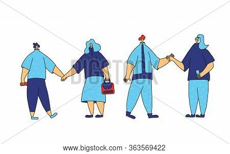 Double Date Concept. Two Couple Of Young People Holding Hands Each Other Isolated On White Backgroun