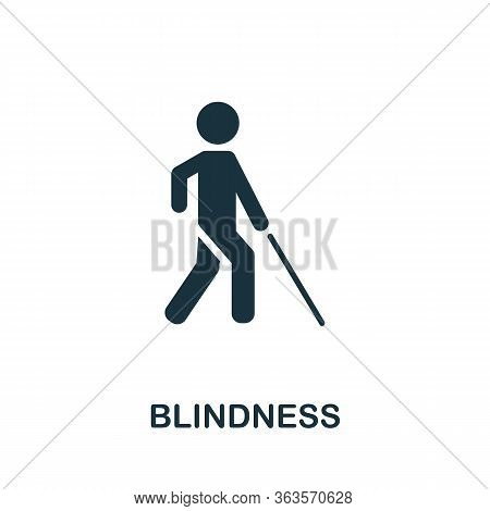 Blindness Icon. Simple Illustration From Ophthalmology Collection. Creative Blindness Icon For Web D
