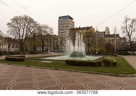 Sofia, Bulgaria - April 19, 2011:  Old Fontain In Front Of Central Mineral Bath, Medieval Banski Squ