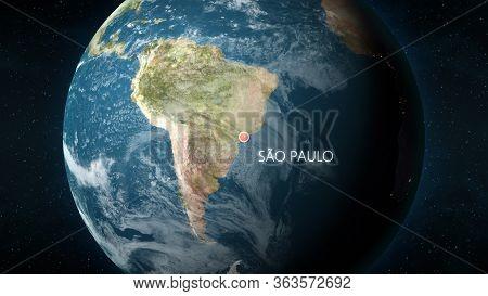 Location Of Sao Paulo, Brazil On Globe. 3d Illustration