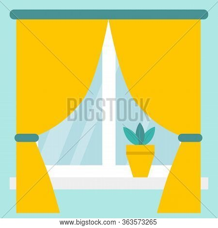 A Window With The Blinds Or Curtains. White Window Frames, Yellow Curtains Gathered With Green Decor