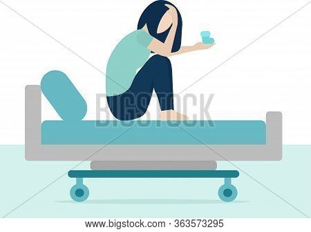A White Woman Is Sitting On A Hospital Bed And Crying. Loss Of A Child, Termination Of Pregnancy. Sh