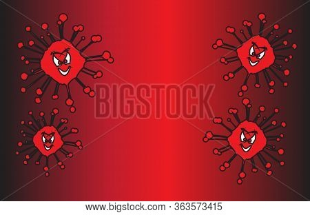 A Coronavirus Viral Infection With An Evil Grinning Face Isolated Over A White Background
