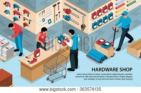 Isometric Hardware Tools Shop Horizontal Background With Text And Indoor View Of Tool Store With Peo