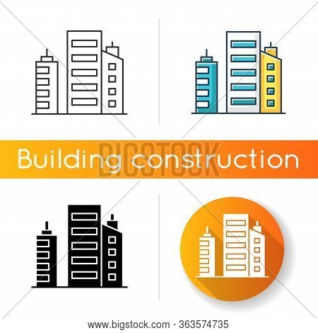 Business Building Icon. Multistorey Apartment Houses. Downtown District Constructions. Corporate Off