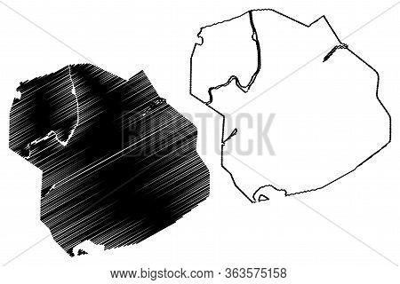 Petropavl City (republic Of Kazakhstan, North Kazakhstan Province) Map Vector Illustration, Scribble