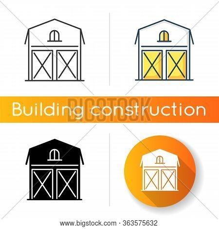 Barn Icon. Farming Storage Construction. Grain Warehouse. Agriculture House Exterior. Wooden Stockro