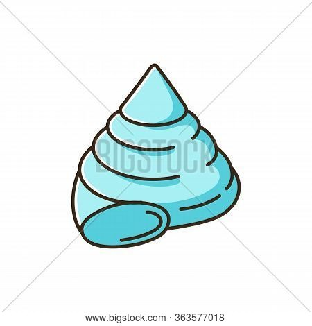Top Shell Blue Rgb Color Icon. Exotic Snail Cockleshell, Conchology Cittarium Pica. Empty Gastropod