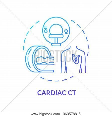 Cardiac Ct Concept Icon. Xray Scanning, Cardiovascular Diseases Diagnostics Idea Thin Line Illustrat
