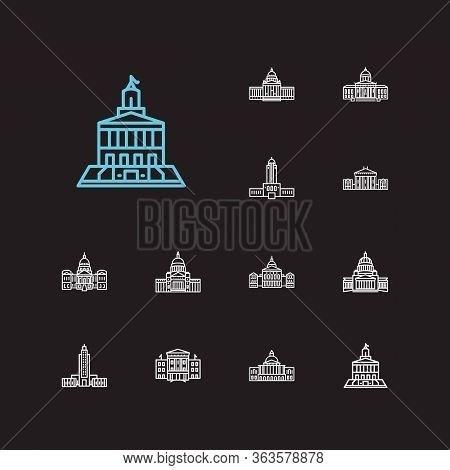 Building Icons Set. Arkansas State Capitol And Building Icons With Georgia State Capitol, Louisiana