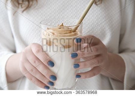 Iced Frothy Dalgona Coffee, A Trendy Fluffy Creamy Whipped Coffee. Korean Drink Latte Espresso With