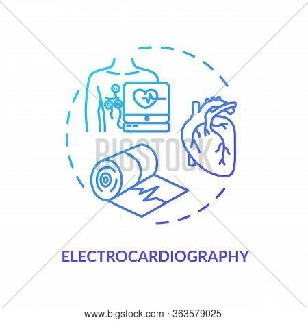 Electrocardiography Concept Icon. Heart Screening, Clinical Examination Idea Thin Line Illustration.