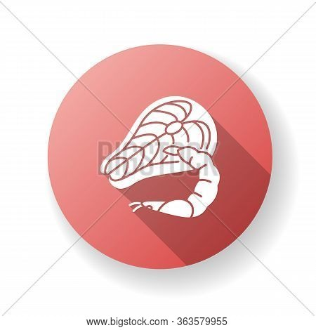 Seafood Red Flat Design Long Shadow Glyph Icon. Tuna Raw Steak. Fresh Shrimp. Mediterranean Cuisine.