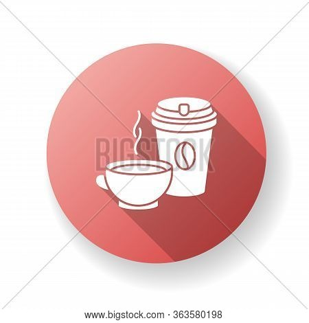 Tea And Coffee Red Flat Design Long Shadow Glyph Icon. Coffee In Disposable Cup For Takeaway. Black