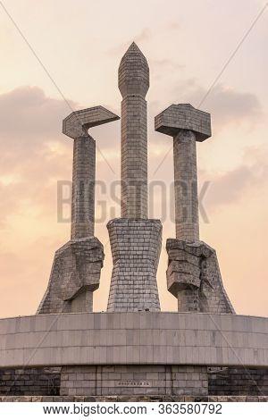 Pyongyang / Dpr Korea - November 11, 2015: Monument To Party Founding In Pyongyang, North Korea. Ham