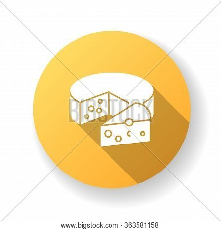 Cheese Yellow Flat Design Long Shadow Glyph Icon. Dairy Product. Cooking Recipe Ingredient. Milk Bas