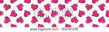 Cute Heart With Kawaii Face Seamless Vector Border. Hand Drawn Romantic Symbol Kawaii Illustration F