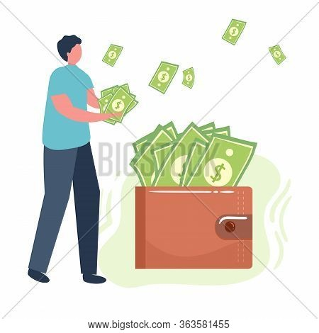 Man Hold Money, Dollars, Wallet Lot Of Money. Savings, Investing Money. Finance, Investment. For Jar