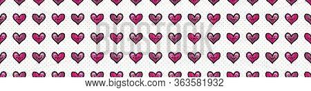 Cute Hearts With Kawaii Face Seamless Vector Border. Hand Drawn Romantic Symbol Kawaii Illustration