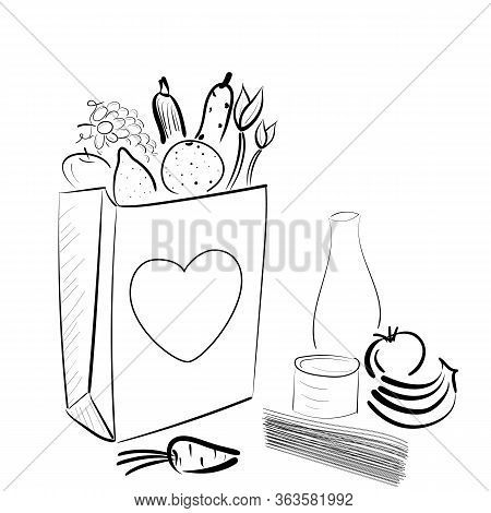 Paper Bag With Food Donation For Homeless People During Quarantine, With Fruits, Vegetables And Hear