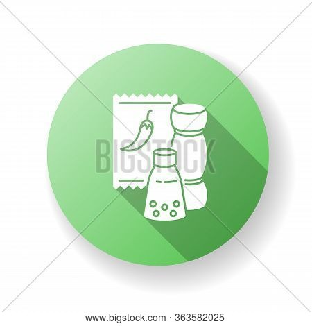 Condiments Green Flat Design Long Shadow Glyph Icon. Pepper In Glass Jar. Salt For Cooking. Food Rec