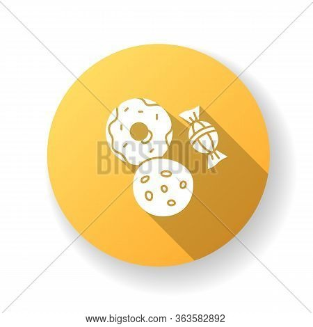 Cookie And Candy Yellow Flat Design Long Shadow Glyph Icon. Sweets Products. Donut With Icing. Baker