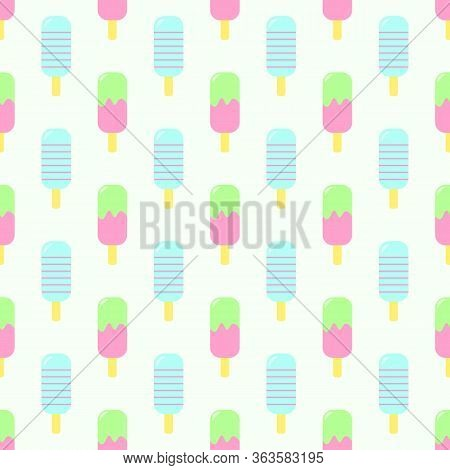 Seamless Pattern Of Ice Cream. Ice Cream With Fruit Juice. Popsicle On A Stick. Vector Illustration.